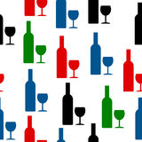 Bottle and glasse icon seamless pattern Stock Photo