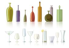Bottle glasses Royalty Free Stock Image