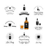 Bottle and Glasses Alcohol Elements. Tequila, Champagne, Whisky, Wine, Brandy, Beer Rum Vector Illustration  On White Stock Images