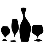 Bottle and glasses with black wine Royalty Free Stock Photography