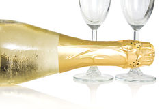 Bottle and glasses of champagne Royalty Free Stock Image