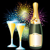 Bottle and glasses of champagne and fireworks. A bottle of champagne and two glasses on the background of fireworks Royalty Free Stock Images