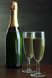 Bottle and glasses of champagne Stock Photo