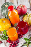 Bottle and glasses of healthy  juice Royalty Free Stock Images