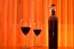 Bottle and glasses of red wine Stock Photography