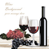 Bottle and Glasses of Red wine with grapes Royalty Free Stock Image