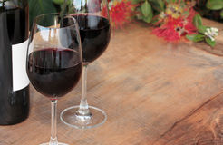 Bottle & Glasses Red Wine on Outdoor Table Stock Images