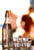 Bottle and glasses,restaurant Stock Photo