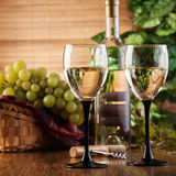 Bottle and glasses of white wine Royalty Free Stock Images