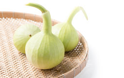 Bottle gourd fruit in basket isolated Royalty Free Stock Photos