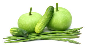 Bottle gourd, moringa and cucumber Royalty Free Stock Images