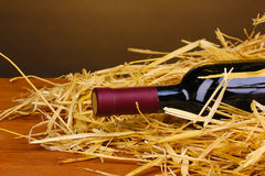 Bottle of great wine on hay Royalty Free Stock Images