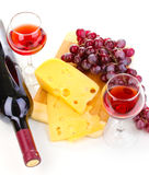 Bottle of great wine with wineglasses and cheese Royalty Free Stock Photo