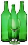 Bottle from green glass. And wineglass  on white Stock Image