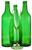 Bottle from green glass. And wineglass  on white Royalty Free Stock Images