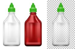 Bottle with green lids in two colors Stock Image