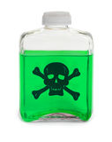 Bottle with green toxic chemical solution Stock Images