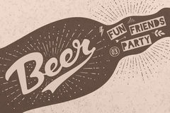 Bottle with hand drawn lettering, text Beer Here royalty free illustration