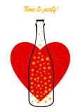 Bottle and heart Stock Photography