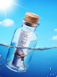 Bottle with help message. Bottle with help message floating in the see waves royalty free stock photo