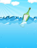 Bottle with help message. Floating in the ocean waves Stock Photography