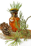 Bottle with a herbal balm stock images