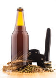 Bottle of home made  beer on table Stock Photo