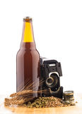 Bottle of home made  beer on table Stock Image