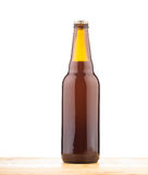 Bottle of home made  beer on table Royalty Free Stock Photo