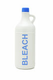 Bottle of household bleach. Plastic bottle of household bleach on white background stock image