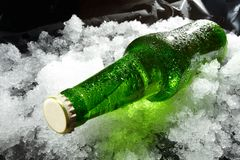bottle in ice Stock Image