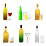 Bottle icon set Stock Photos
