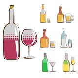 Bottle icon set Royalty Free Stock Photography