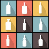 Bottle Icons in Flat Design for Web and Mobile Royalty Free Stock Images