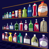 Bottle icons posed stacked on rack. A light and shadow. In vector format Royalty Free Stock Photos