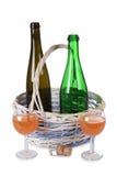 Bottle In Wicker Basket Stock Photography