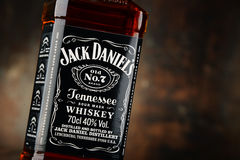 Bottle of Jack Daniel's bourbon. POZNAN, POLAND - APRIL 23, 2016: Jack Daniel's, a brand of the best selling American whiskey in the world, produced by the Jack stock photos