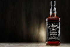 Bottle of Jack Daniel's whiskey. POZNAN, POLAND - DEC 2, 2016: Jack Daniel's, a brand of the best selling American whiskey in the world, produced by the Jack royalty free stock photos