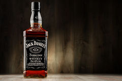 Bottle of Jack Daniel's whiskey. POZNAN, POLAND - DEC 2, 2016: Jack Daniel's, a brand of the best selling American whiskey in the world, produced by the Jack stock photos