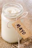 Bottle jar of mayonaise with 'mayo' label Stock Photography