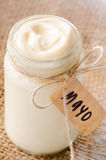 Bottle jar of mayonaise with 'mayo' label Royalty Free Stock Image