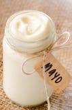 Bottle jar of mayonaise with 'mayo' label Royalty Free Stock Image