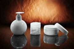 Bottle jar and pads Royalty Free Stock Photos