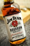 A bottle of Jim Beam Bourbon Whisky. A bottle of Kentucky Straight bourbon whisky by the name of Jim Beam Royalty Free Stock Photography