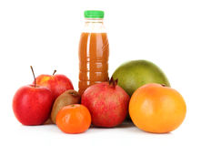 Bottle of juice  with ripe fruits Stock Image