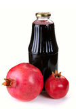 Bottle of juice and ripe pomegranate Royalty Free Stock Images