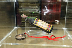 The bottle of Katogi wine in wine cellar Royalty Free Stock Photography