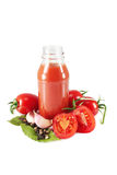 Bottle of ketchup and ingredients Royalty Free Stock Images