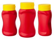 Bottle of Ketchup isolated on white background royalty free stock photos