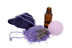 Bottle of lavender oil and spa isolated Stock Image